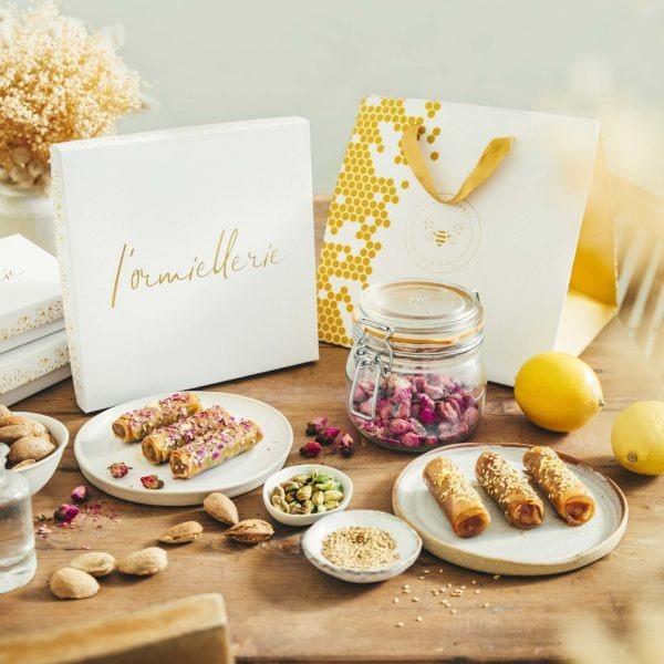 Lormiellerie-pâtisserie-marocaine-lyon-cigare-au-miel-amande-coffret-sac